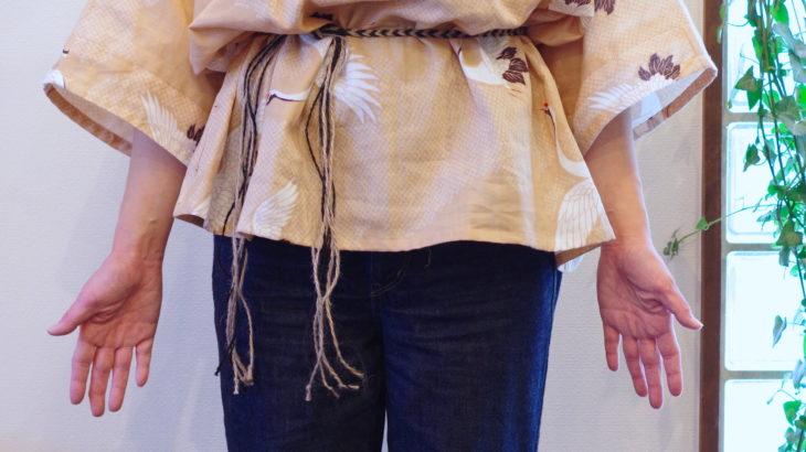 貫頭衣プルオーバー 鶴柄 <サンプル品につき1着限定特別価格>