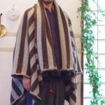 羽織ポンチョ ボーダー柄グレージュ&ブラウン【送料無料】